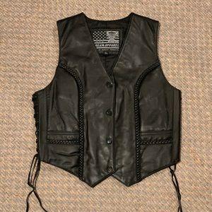 🏍♥️🖤NWOT Black Leather Vest🖤♥️🏍